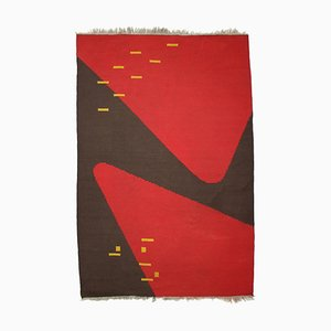 Organic Abstract Geometric Carpet or Rug in the Style of Antonín Kybal, 1950s