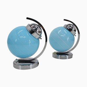 Bauhaus Blue Table Lamps, Czechoslovakia, 1930s, Set of 2