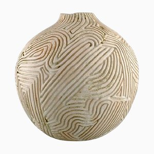 Large Sculptural Hand Modelled Vase with Carvings by Christina Muff