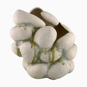 Sculptural Hand-Modelled Vase in Stoneware Clay by Christina Muff