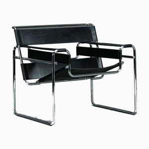 Bauhaus B3 Wassily Chair aus Schwarzem Leder von Marcel Breuer für Gavina