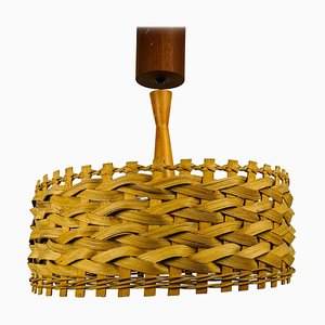 Mid-Century Wooden Pendant Lamp, Sweden, 1960s