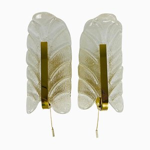Modernist Brass and Opaline Glass Wall Lamps by Carl Fagerlund for Orrefors, 1960s, Set of 2