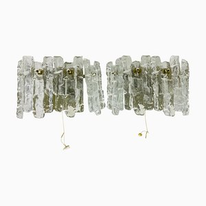 Frosted Ice Glass Wall Lamps from Kalmar, Austria, 1960s, Set of 2