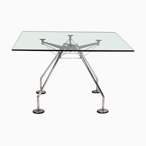 Square Glass Nomos Table by Norman Foster for Tecno, 1980s