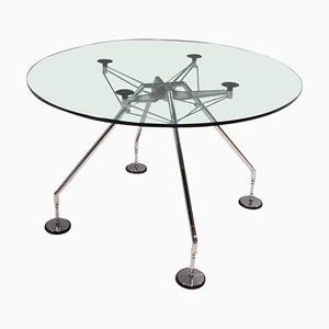 Round Glass Nomos Table by Norman Foster for Tecno, 1980s