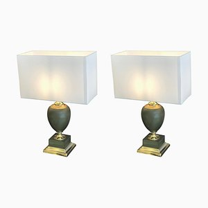Regency Leather and Brass Table Lamps from Maison Le Dauphin, Set of 2