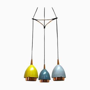 Ceiling Lamp with Colored Metal Shades by T. Røste & Co, Norway, 1950s