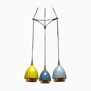 Deckenlampe mit farbigen Metallschirmen von T. Røste & Co, 1950er