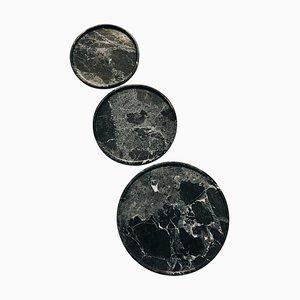 Assiettes Dione, Electra & Arsinoi en Marbre Vert par Faye Tsakalides, Set de 3