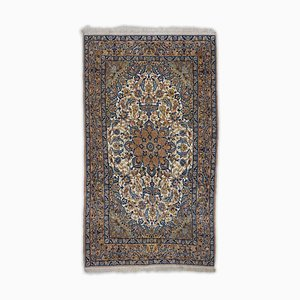 Floral Isfahan Rug in Light Brown with Border and Medallion