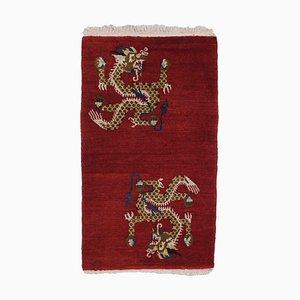 Tibetan Carpet in Mottled Dark Red