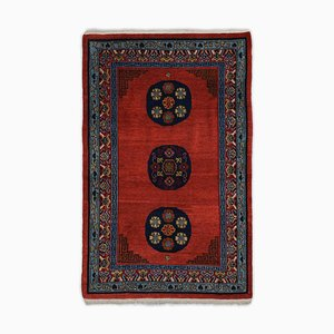 Geometric Tibetan Carpet in Dark Red with Border and Medallion