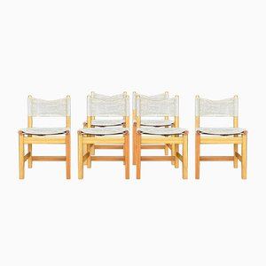 Vintage Bohemian Pine & Canvas Chairs by Karin Mobring for Ikea, Set of 6