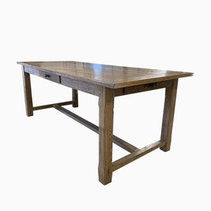 Antique French Provincial Limed Oak Farmhouse or Refectory Table