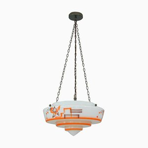 German Art Deco Pendant Lamp in Enameled Glass and Brass, 1930s