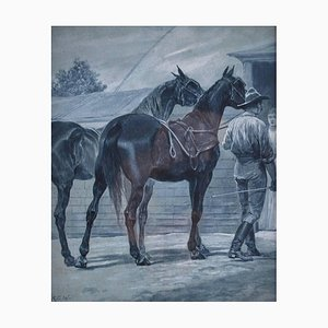 Portare i cavalli a casa, acquerello di Richard Caton Woodville