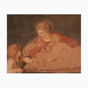 Virgen con dos hijos, acuarela
