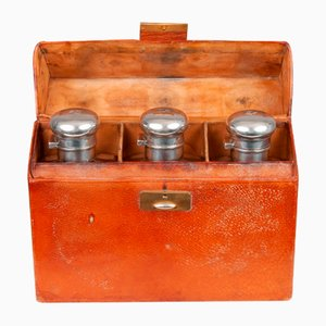 3 Vials with Silver Clasp in Leather Case, Germany, 1930s