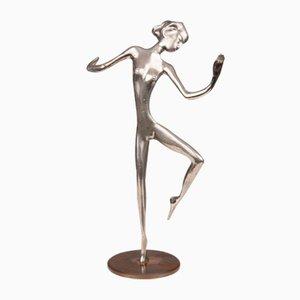 Tänzerin aus versilberter Bronze von Karl Hagenauer (1898 - 1956)
