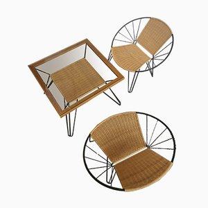 Sessel und Couchtisch im Brüsseler Stil, 2er Set