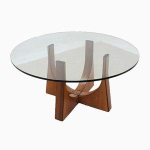 Mid-Century Italian Round Walnut and Glass Dining Table,1960s