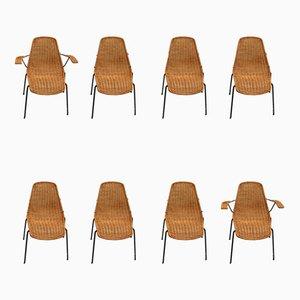 Sillas Set de bambú y hierro de Campo E Graffi para Home Field & Scratches, años 50. Juego de 8