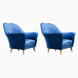 Vintage Chairs in Velvet by Ico & Luisa Parisi, 1950s, Set of 2