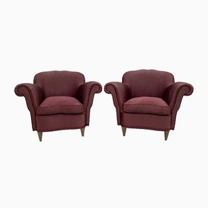 Mid-Century Modern Curved Armchairs by Federico Munari, Italy, 1950s, Set of 2