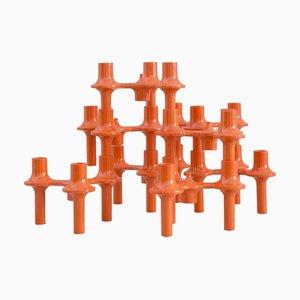 Orange Modular Candelabra by Sonti, Set of 9