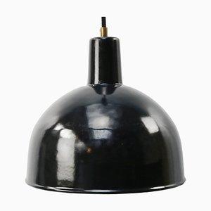 Lampe à Suspension d'Usine Vintage Industrielle en Émail Noir