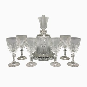 Crystal Decanter with 6 Crystal Glasses, Italy, 1950s, Set of 7