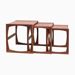 Tables Gigognes Quadrille en Teck par Robert Bennett pour G-Plan, Set de 3