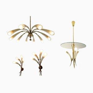 1-Leuchten Kronleuchter, 3-Leuchten Kronleuchter und 2 4-Leuchten Wandleuchten von Lumen Milano, 1950er, 4er Set