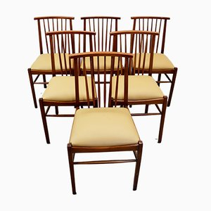 Italian Wood and Faux Leather Chairs, 1960s, Set of 6