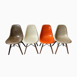 Vintage Walnut DSW Chairs in Brown and Orange by Charles & Ray Eames for Herman Miller, Set of 4
