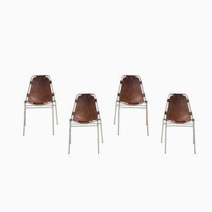 Les Arcs Leather Sling Seat Chairs by Charlotte Perriand, 1970s, Set of 4