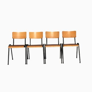 Industrial Birch Plywood Stackable Chairs, Set of 10