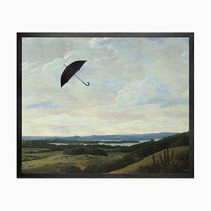 Umbrella in the Wind Framed Mini Printed Canvas