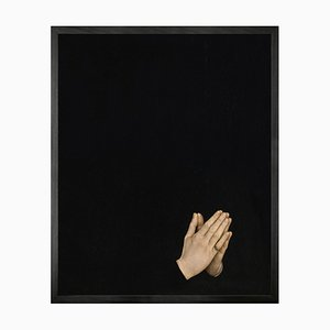Hands in Prayer Mini Framed Printed Canvas