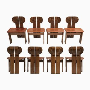 Walnut Africa Chairs by Afra and Tobia Scarpa for Maxalto, 1970s, Set of 8