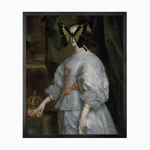 Mini Black and Green Butterfly on Lady Portrait