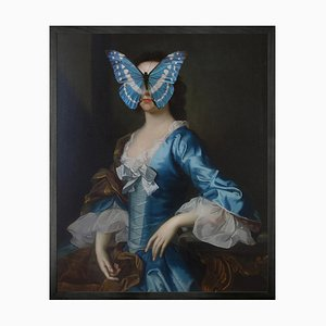 Mini Blue and White Butterfly on Lady Portrait