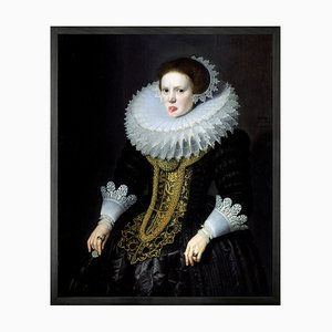Lady with Tongue Out 1 Mini Framed Printed Canvas