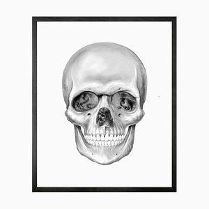 Small Da Vinci Skull Framed Printed Canvas