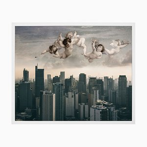 Small Angels Over City Framed Printed Canvas