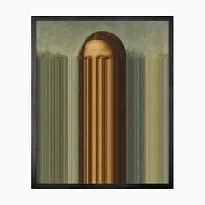 Kleine bedruckte Mona Lisa Streifen Gerahmte Leinwand