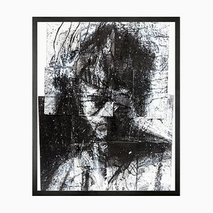 Small Head of Mike 2 Framed Printed Canvas