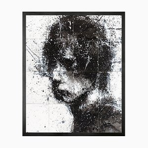 Small Head of Mike 3 Framed Printed Canvas