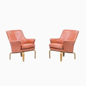 Leather Pilot Armchairs by Arne Norell, Sweden, Set of 2